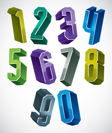 numerals: 3d geometric numbers set in blue and green colors, colorful glossy numerals for advertising and web design. Illustration