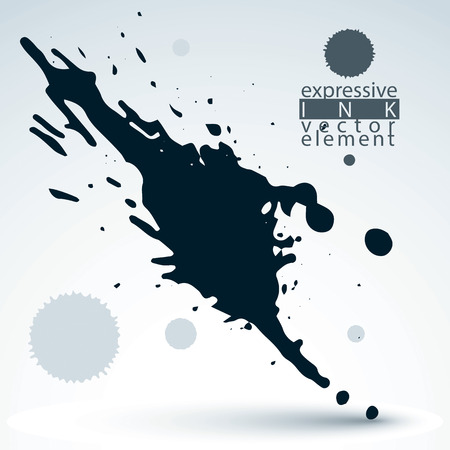 Vector black acrylic abstract spot, brush painted design element, graphic creative inky illustration scanned and traced.