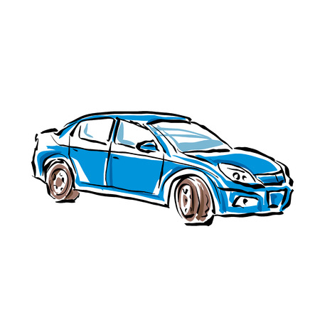 sedan: Colored hand drawn car on white background, illustrated sedan.