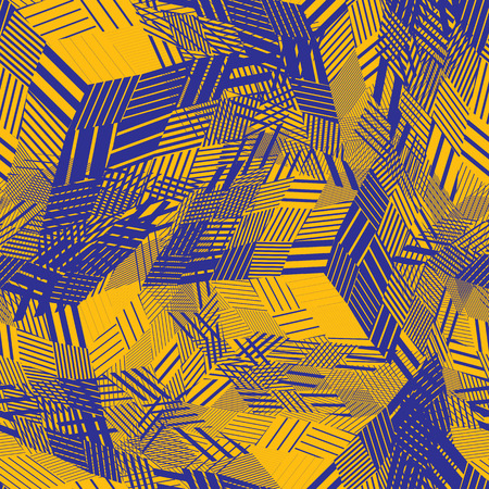 covering: Colorful seamless pattern with parallel lines and geometric elements, infinite mosaic textile, abstract vector textured floor covering.