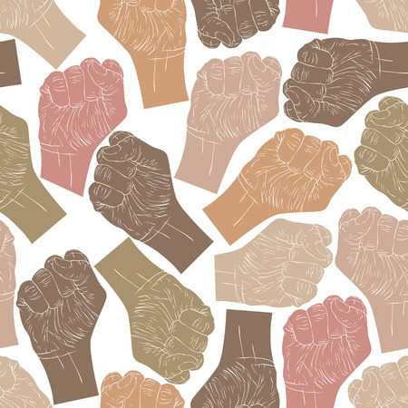 clenched: Clenched fists seamless pattern, vector background for wallpapers, textile or other designs.