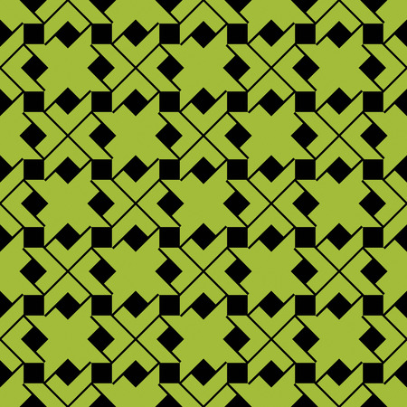 expressive: Colorful ethnic geometric art seamless pattern, vector green artificial expressive background. Symmetric rhythmic classic backdrop.