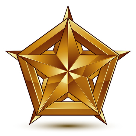 golden star: Heraldic vector template with five-pointed golden star, dimensional royal geometric medallion isolated on white background.