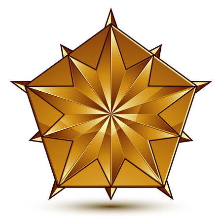 aurum: Sophisticated vector golden star emblem, 3d decorative design element