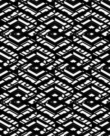 parallelogram: Modelo incons�til geom�trico con l�neas paralelas y elementos geom�tricos, infinita grunge monocromo textil, ilustraci�n vectorial de textura que cubre. Se entrelazan ilustraci�n en blanco y negro.