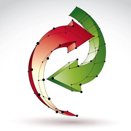 recycling symbol: 3d mesh stylish update sign isolated on white background, colorful elegant lattice renew iconblack connected lines Illustration