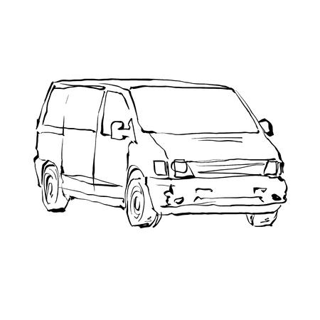 minivan: Black and white hand drawn car on white background, illustrated minivan.