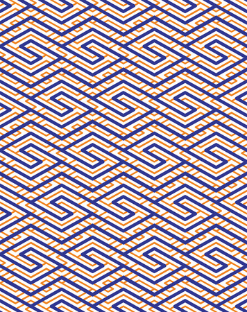 splice: Colorful geometric seamless pattern with symmetric zigzag ornament. Rhombs and parallelograms graphic contemporary background. Bright splicing infinite backdrop.