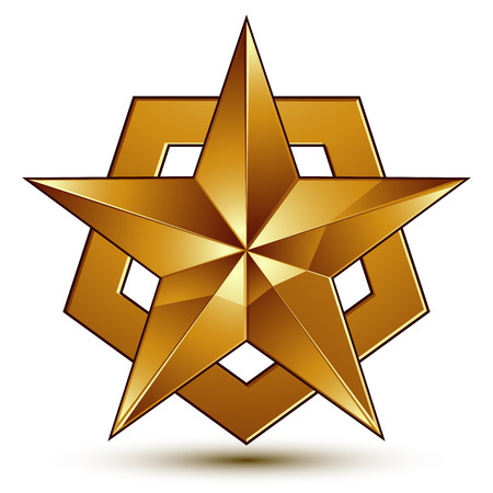 golden star: Sophisticated vector golden star emblem, 3d decorative design element