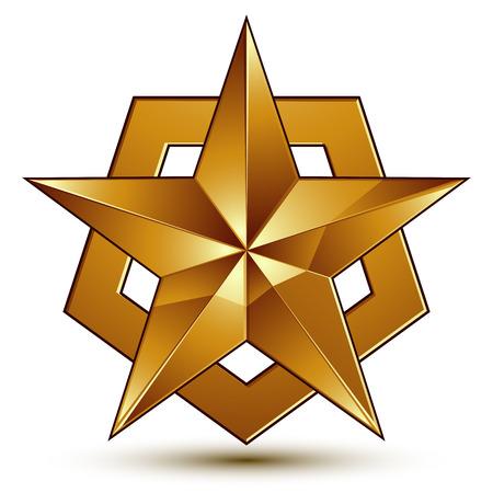 golden star: Sophisticated vector golden star emblem, 3d decorative design element