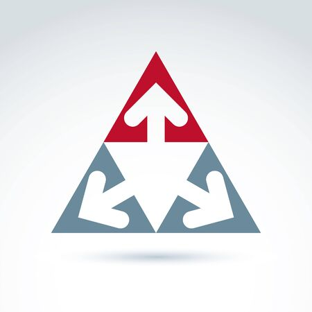 left right: Vector abstract emblem with three multidirectional arrows placed in isosceles triangles – up, left, right. Conceptual corporate symbol, pyramid icon. Illustration