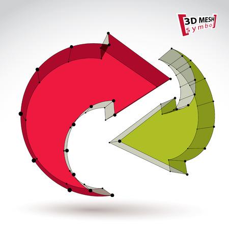 renew: 3d mesh stylish web update sign isolated on white background, colorful elegant lattice renew icon, dimensional tech refresh symbol Illustration