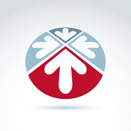 arrow icon: 3d abstract emblem with four multidirectional arrows placed in sectors – up, down, left, right. Conceptual corporate symbol, brand rounded icon.