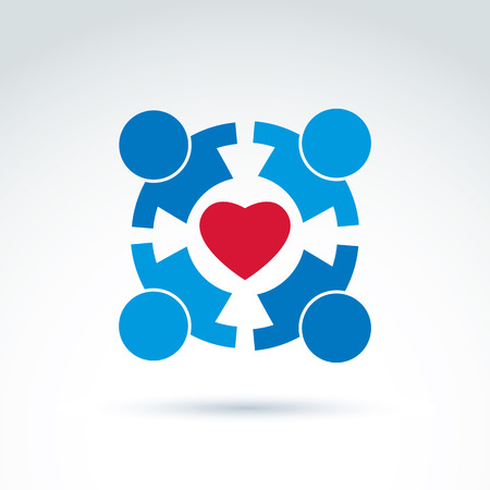 compassion: Round family consultation symbol, compassion and love sign. People holding hands around the loving heart. Save life social icon.