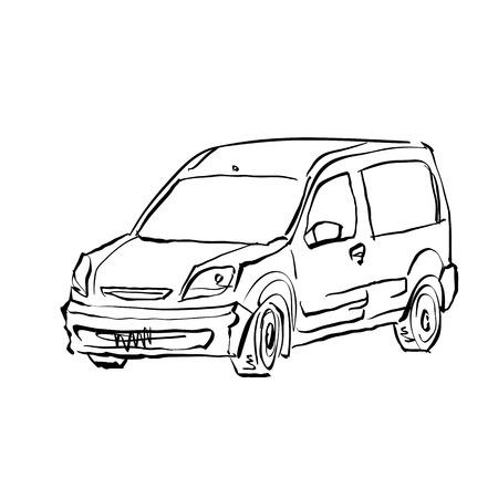 station wagon: Black and white hand drawn car on white background, illustration of a station wagon. Illustration