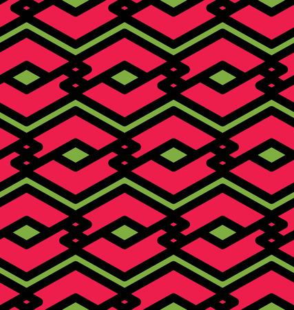 intertwine: Colorful geometric seamless pattern, symmetric endless vector background with intertwine lines. Abstract concept splicing red covering.