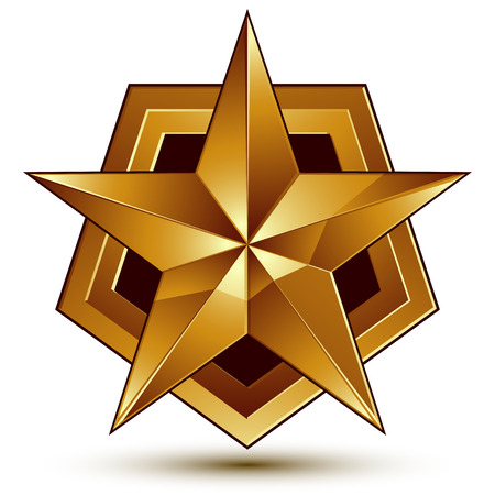 golden star: Vector glorious glossy design element, luxury 3d golden star, conceptual graphic template