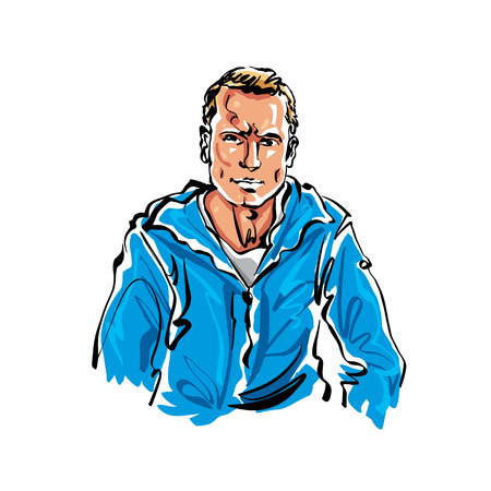 relaxed man: Colorful hand drawn illustration of a relaxed fair-haired man.