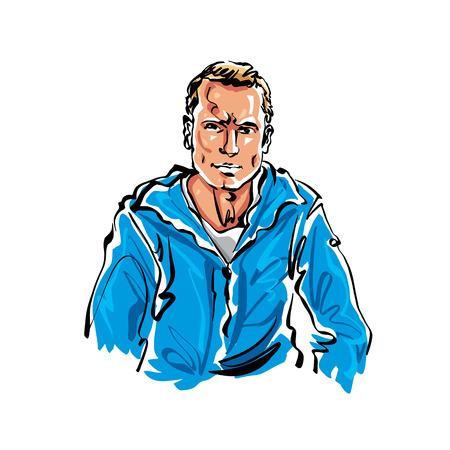 relajado: La mano de colores dibujado ilustraci�n de un hombre de pelo rubio relajado. Vectores