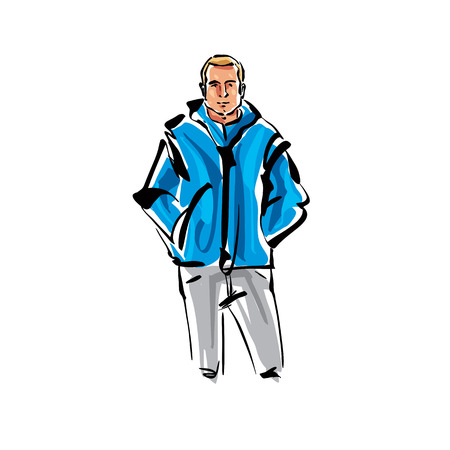 hand in pockets: Colorful hand drawn illustration of a fair-haired man with his hands in pockets.