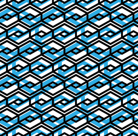 intertwine: Colorful geometric overlay seamless pattern, symmetric endless vector background with intertwine blue lines. Abstract concept splicing covering. Illustration