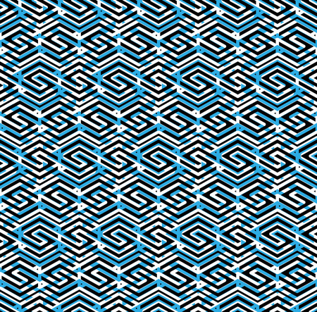 visual effect: Blue abstract seamless pattern with interweave lines. Vector overlay wallpaper with geometric figures. Endless decorative background. Visual effect.