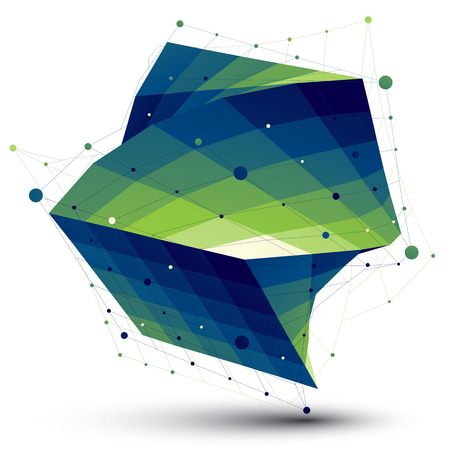 twist: Green squared abstract 3D shape, colorful twisted vector digital lattice object. Illustration