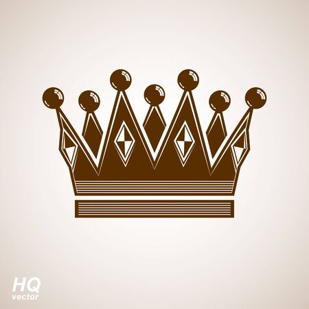 regal: Royal design element, regal icon. Vector majestic crown, luxury stylized coronet illustration. King and queen regalia