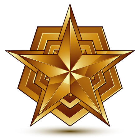 Vector glorious glossy design element, luxury 3d golden star, conceptual graphic template