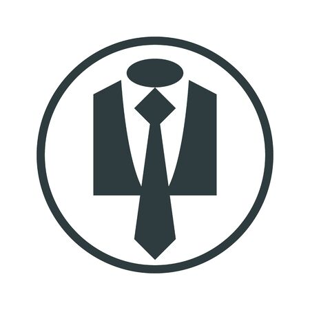 official wear: Cloth icon, vector illustration of suit with tie, business man theme icon.