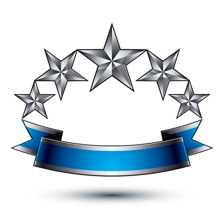 glorioso: Vector glorioso elemento de design brilhante, luxo 3d estrelas de prata pentagonais, modelo gr�fico complicado conceptual com tira festivo