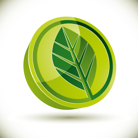 eco notice: Green leaf 3d round vector icon.