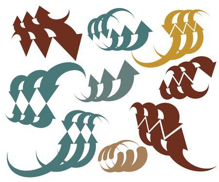 single color: Abstract arrows vector symbol collection, single color vector graphic design templates, vector icon set. Illustration