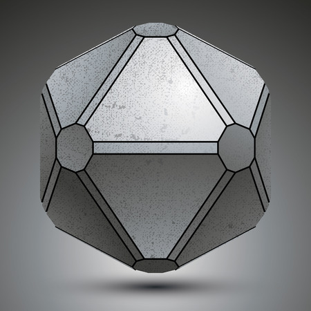 3d dimensional: Dimensional galvanized object created from geometric figures, metallic 3d globe.