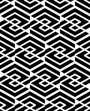 охватывающей: Geometric seamless pattern with parallel lines and geometric elements, infinite decorative textile, abstract vector textured covering. Intertwine black and white illustration. Иллюстрация