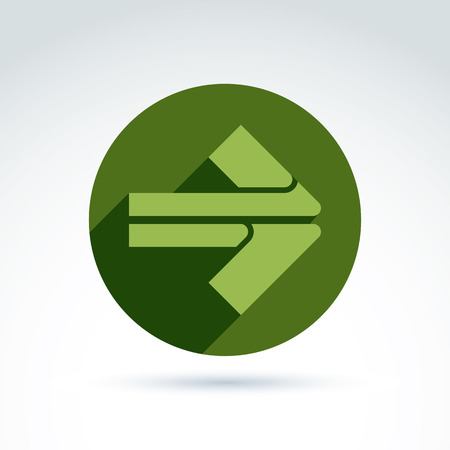 multidirectional: Vector abstract emblem with green arrow – pointer. Double direction sign placed in a circle. Illustration