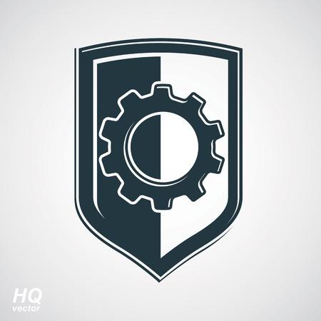 escutcheon: High quality graphic gear symbol on a shield, heraldic escutcheon with an engineering design element. Engine component symbol – industrial cog wheel. Defense emblem.