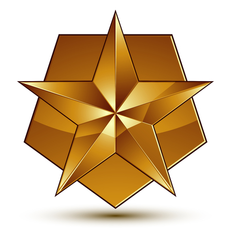 3d vector classic royal symbol, sophisticated golden star emblem isolated on white background, glossy aurum element.
