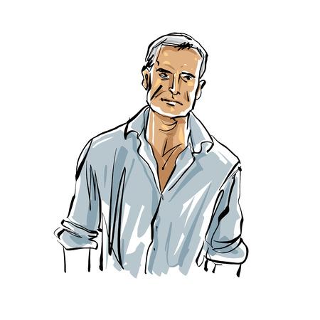Hand drawn countryman illustration on white background, grey-haired man.