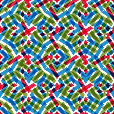 kifejező: Geometric messy lined seamless pattern, bright vector endless background. Decorative expressive motif texture.