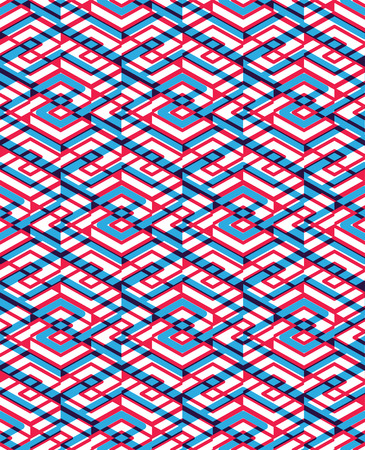 intertwine: Geometric seamless pattern with transparent impose rhombs, endless intertwine ethnic vector ornamental background.