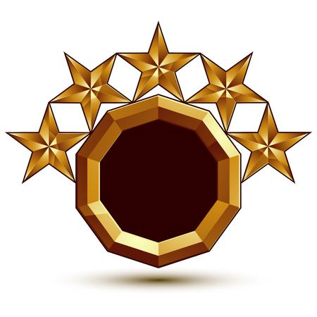 blazon: Geometric vector classic golden element isolated on white backdrop, dimensional decorative stars, shaped blazon.