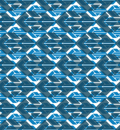 covering: Colorful geometric seamless layered composition created with arrows, blue symmetric endless vector background. Abstract vivid conceptual design covering. Illustration