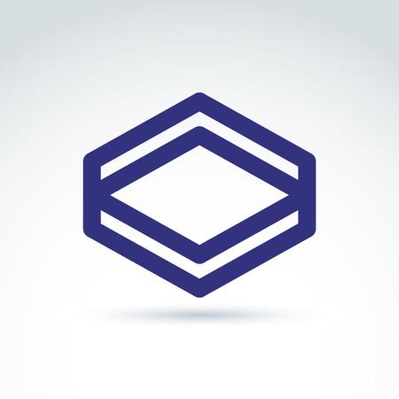 rhomb: Vector abstract monochrome rhomb, diamond figure isolated on white background. Complex geometric corporate brand symbol.