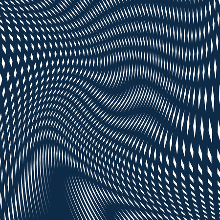 undulate: Optical background with monochrome geometric lines. Moire pattern, trance effect.