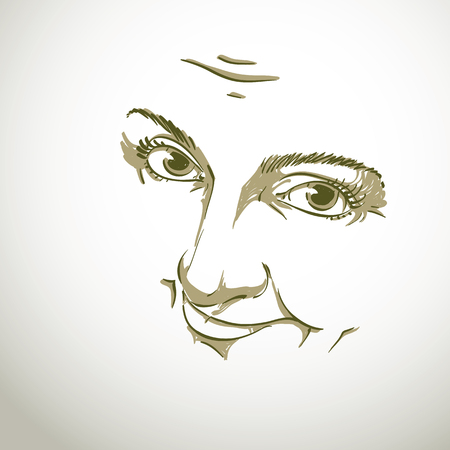 sorry: Black and white illustration of lady face
