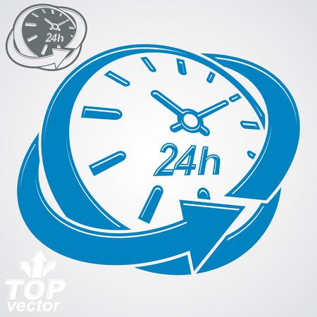 24 hours: Elegant 3d vector round 24 hours clock