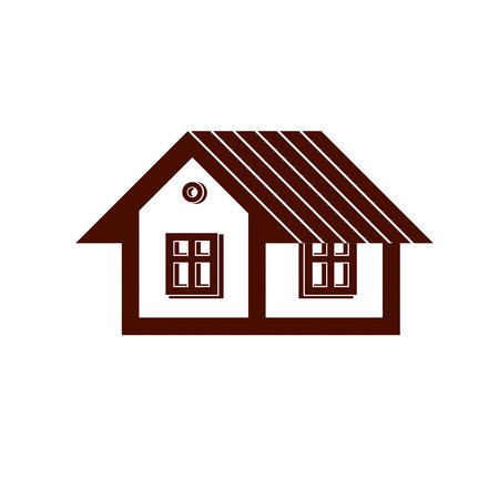 country house: Simple mansion icon isolated on white background, vector abstract house. Country house, conceptual sign best for use in graphic and web design.