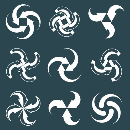 single color: Looping arrows vector abstract symbol collection, single color conceptual special made 3d icon set. Illustration