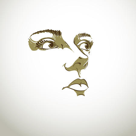 black woman face: Black and white illustration of lady face, delicate visage features. Eyes and lips of peaceful  woman expressing positive emotions.